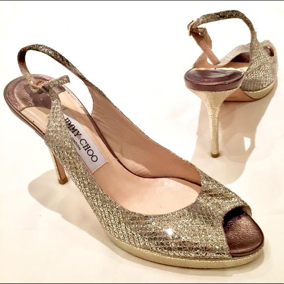 cfd61bd6525 Jimmy Choo Shoes - JIMMY CHOO GOLD SILVER NOVA SLINGBACK HEEL SIZE 39